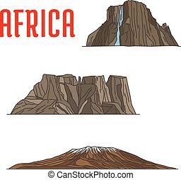 Puntos de viaje naturales de icono de África, delgada línea