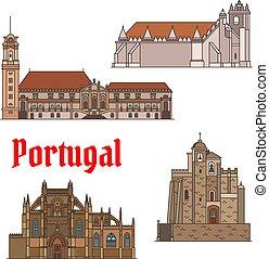 Puntos de viaje portugueses de delgada línea de iconos