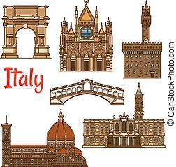 Puntos de viaje simbólicos de Italia