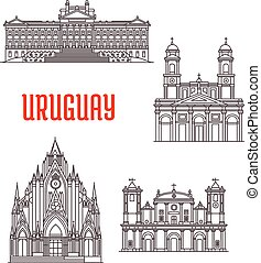 Puntos de viaje uruguayos de delgada línea de icono