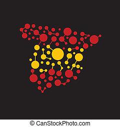 Puntos españoles y líneas de mapa logotipo de imagen