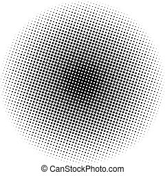 puntos, gradiente, óptico, radial