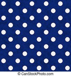 Puntos lunares blancos sobre tejidos texturados azules