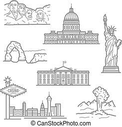 Puntos nacionales de los iconos de EE.UU. en una delgada línea de estilo