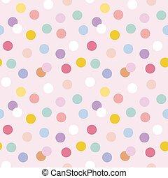 puntos, plano de fondo, polca, seamless, vector, pastel, lindo, patrón