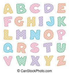 puntos, polca, alfabeto, pasteles