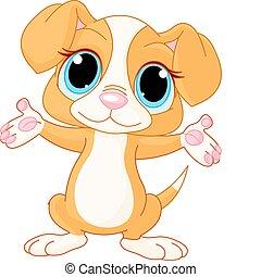 Puppy levanta las manos