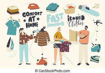 puro, joven, vapor, lino, home., caracteres, día, tabla, gente, cada, planchado, doméstico, ropa, uso, hierro, limpio, rutina