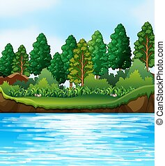 putdoor, escena, río, naturaleza