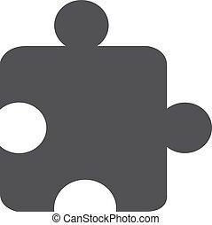 Puzzle icono en negro en un fondo blanco. Ilustración de vectores