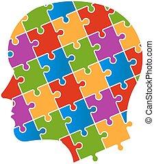 Puzzle personas cabeza logo