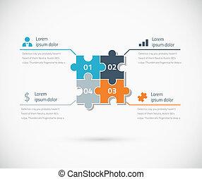 Puzzle pieza infographic opciones bu