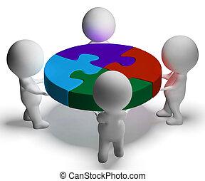Puzzle resuelto y 3d personajes muestran unión y cooperación
