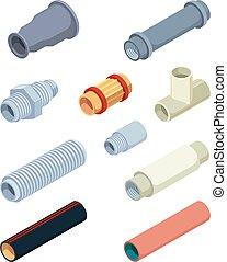 pvc, plástico, válvulas, conectores, reparación, isometric., industrial, detalles, vector, tubos, cuarto de baño, cuadros, chillón