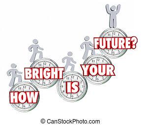 Qué brillante es tu futura gente escalando éxito subiendo predicción