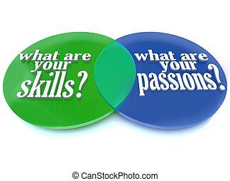 qué, habilidades, -, pasiones, diagrama, venn, su