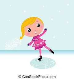 Qué lindo patinaje infantil en el lago helado