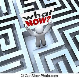 qué, perdido, confuso, señal, persona, tenencia, laberinto, ahora