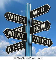 qué, poste indicador, cuándo, investigación, poniendo común, confusión, dónde, por qué, exposiciones