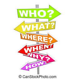 qué, preguntas, cuándo, -, cómo, flecha, señales, dónde, por qué