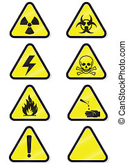 químico, conjunto, advertencia, signs.