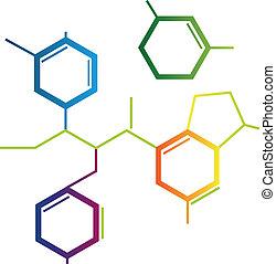 químico, fórmula, resumen, ilustración