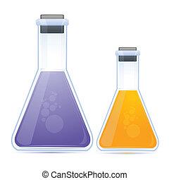 químico, frasco, coloreado