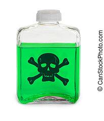 químico, tóxico, verde, solución, botella