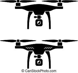 quadcopter, vector, rc, zángano