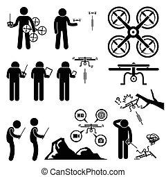 quadcopter, zángano, controlador, hombre