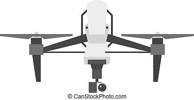 quadcopter, zángano, vector, aislado
