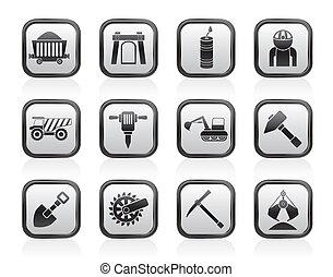 quarrying, minería, industria, iconos