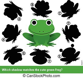Que sombra coincide con la rana verde de dibujos animados