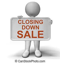 quebrado, actuación, muestra de la venta, abajo, cierre, tienda