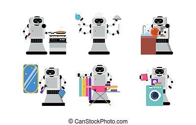 quehacer doméstico, ilustración, diario, carácter, robot, ayudante, vector, conjunto, plano de fondo, aislado, blanco