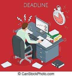 quemado, trabajó demasiado, because, afuera, muchos, 3d, vector, el suyo, proyecto, isométrico, concepto, tareas, deadlines., tiene, deadline., plano, hombre, lugar de trabajo, man., illustration.