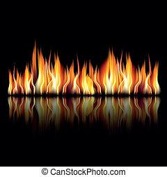Quemando fuego en el fondo negro