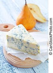 Queso azul y peras