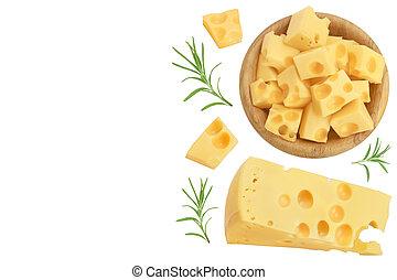 queso, copia, de madera, aislado, text., su, plano, fondo., colocar, vista, cima, pedazo, blanco, tazón, espacio