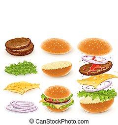 queso, hamburguesa