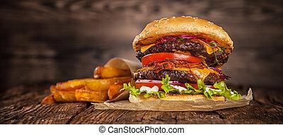 queso, hogar, hamburguesa, lechuga, hecho