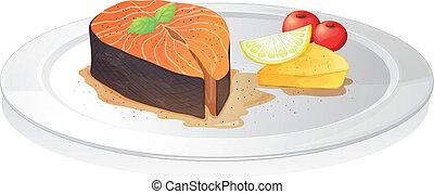 queso, rebanada, limón, pez, cocinado, bayas
