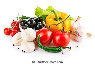 queso, vegetales, italiano, mozzarella, fresco