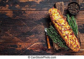queso, vista., oscuridad, board., vegetales, copia, tocino, disecado, tapa de madera, espacio, baguette, fondo., jamón