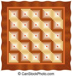 Quilt, patrón de diseño de la cabaña