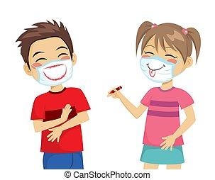 quirúrgico, dibujo, niños, sonrisas, máscara