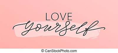 quote., texto, solo, caligrafía, negro, white., moderno, ego, vector, ilustración, impresión, usted mismo, word., amor