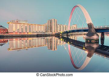 río, arco, clyde, ocaso, puente