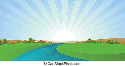 río, caricatura, paisaje