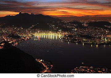Río de Janerio, noche de atardecer